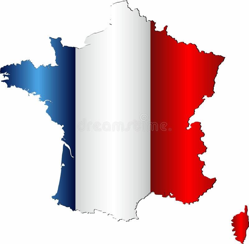 Mapa de Francia con la bandera dentro stock de ilustración