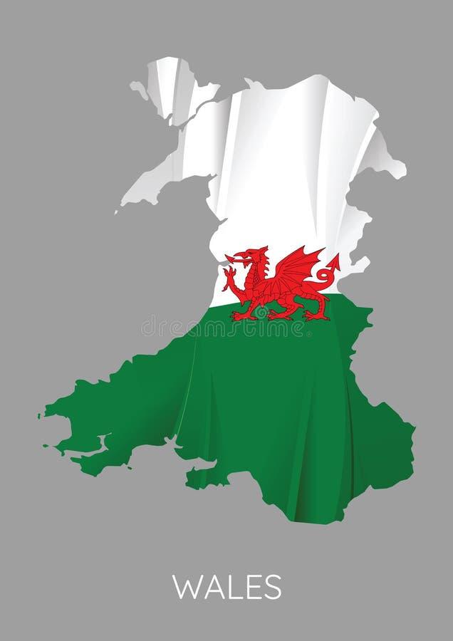Mapa de Gales ilustração stock