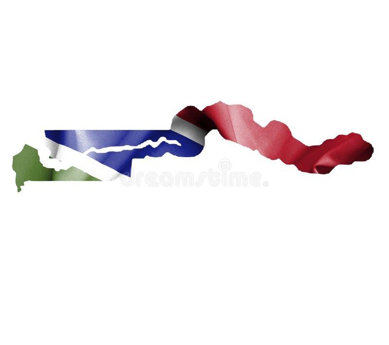 Mapa de Gambia con la bandera que agita aislada en blanco stock de ilustración