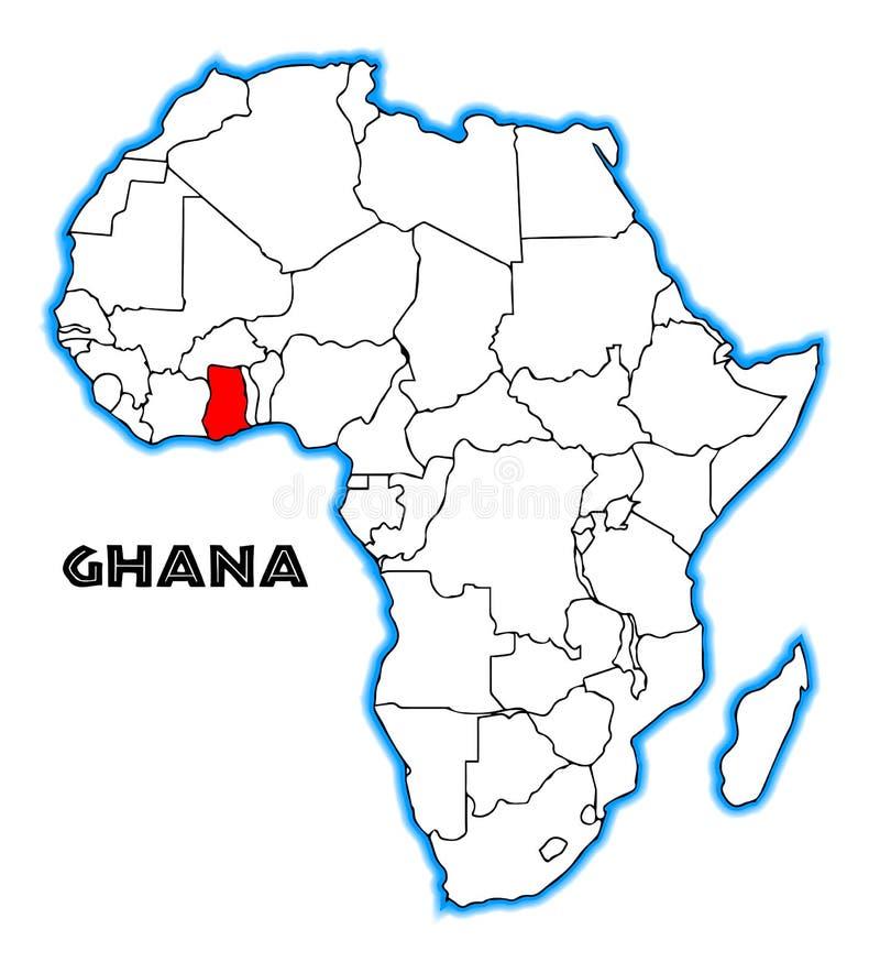 Mapa de Gana África ilustração royalty free