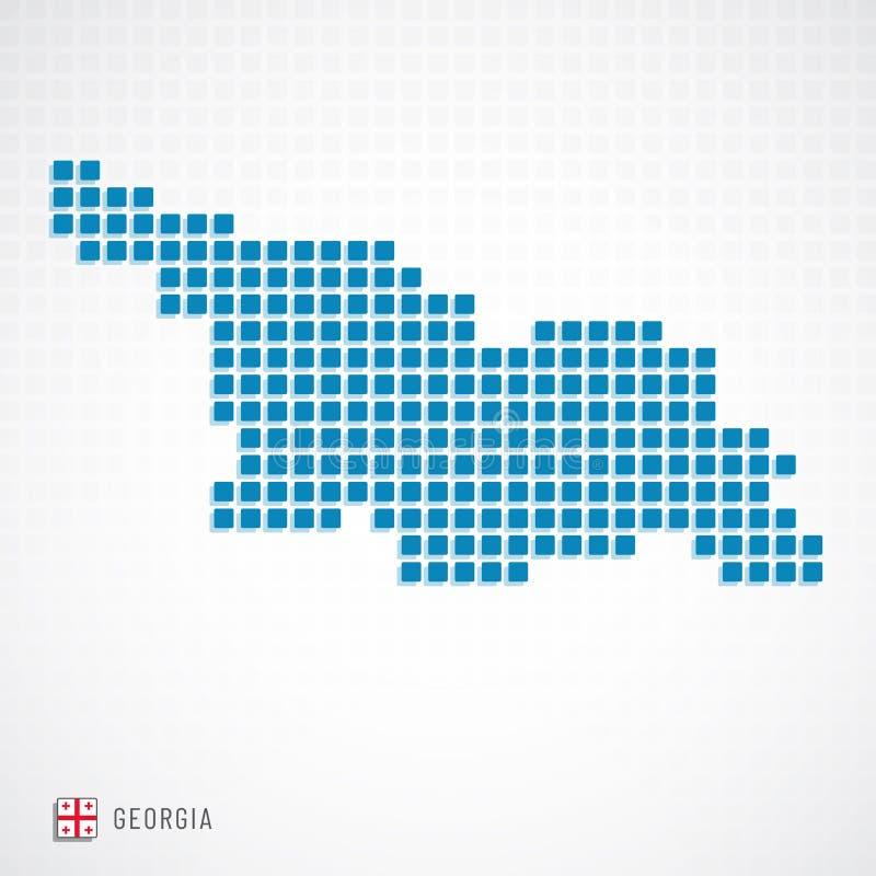 Mapa de Geórgia e ícone da bandeira ilustração royalty free
