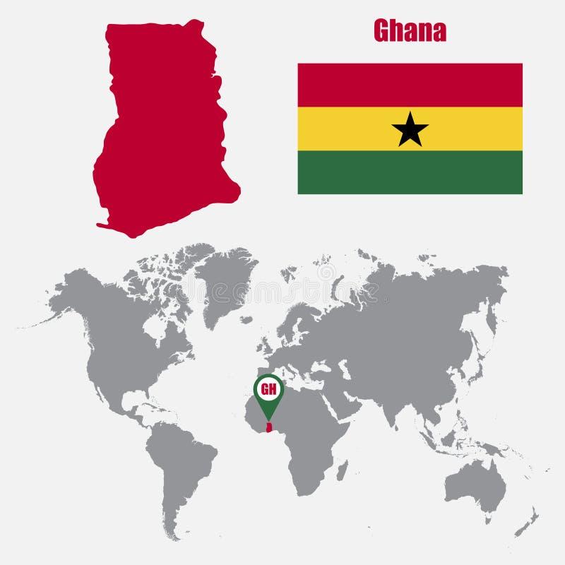Mapa de Ghana en un mapa del mundo con el indicador de la bandera y del mapa Ilustración del vector stock de ilustración
