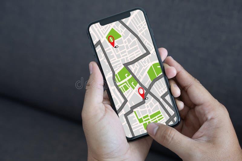 Mapa de GPS a la calle de la ubicación de la conexión de red de destino de ruta fotografía de archivo libre de regalías