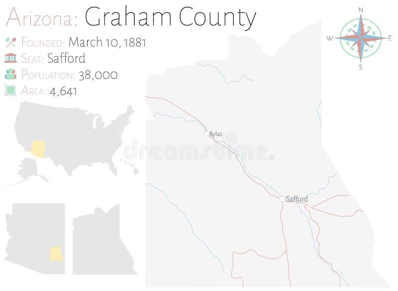 Mapa de Graham County en Arizona stock de ilustración