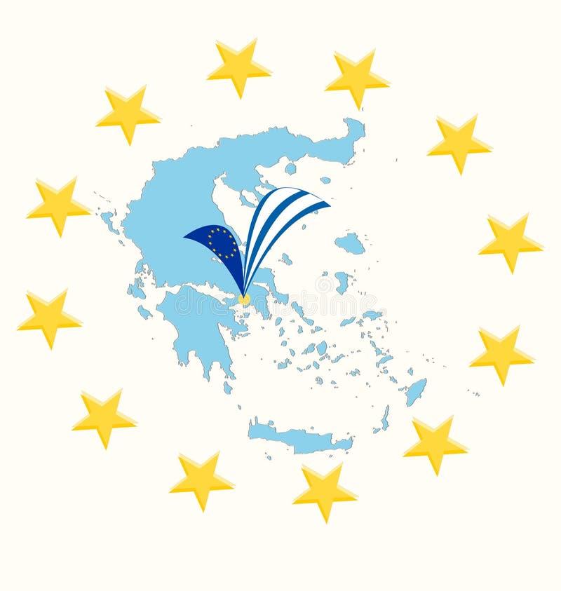 Mapa de Grecia con la bandera y las estrellas ilustración del vector