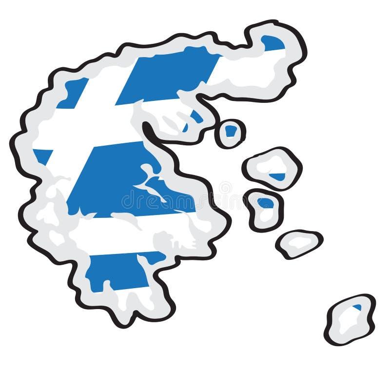Mapa de Grecia con su bandera libre illustration
