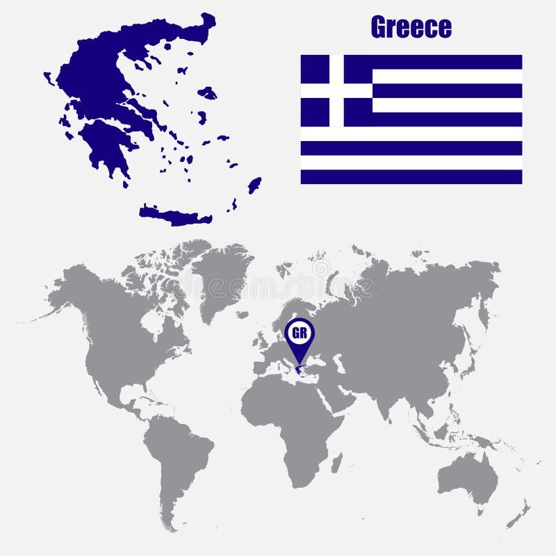 Mapa de Grecia en un mapa del mundo con el indicador de la bandera y del mapa Ilustración del vector ilustración del vector