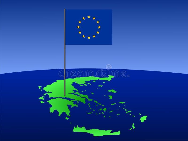 Mapa de Greece com bandeira ilustração royalty free