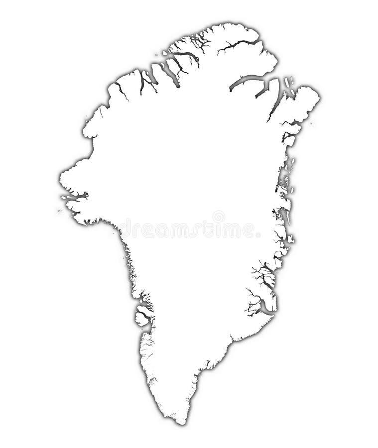 Mapa de Greenland com sombra ilustração do vetor