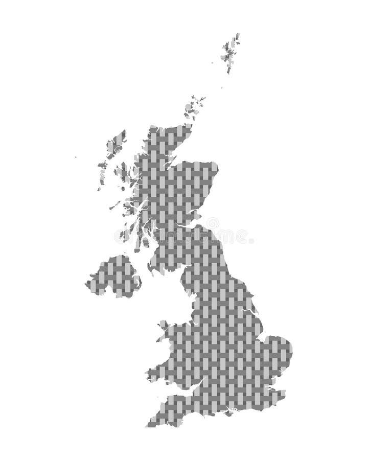Mapa de grosseiro de Grâ Bretanha engrenado ilustração royalty free