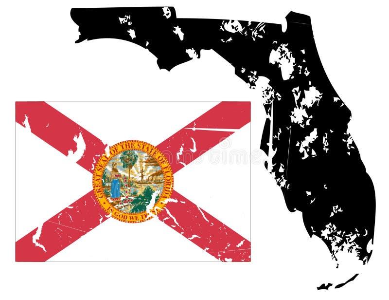 Mapa de Grunge florida com bandeira ilustração do vetor