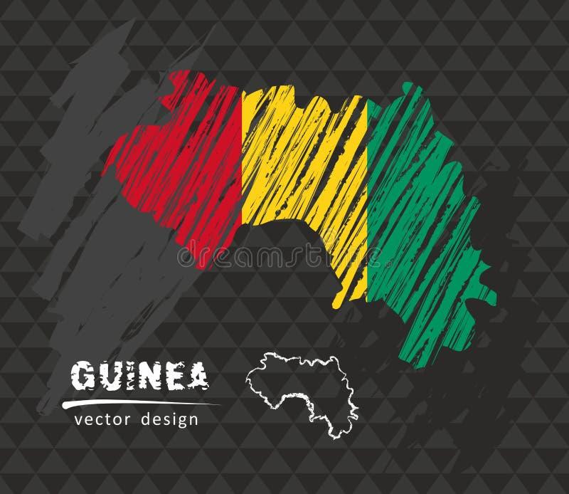 Mapa de Guinea con la bandera dentro en el fondo negro Ejemplo del vector del bosquejo de la tiza ilustración del vector