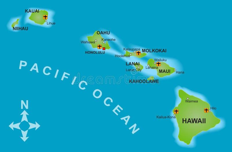Mapa de Havaí ilustração do vetor