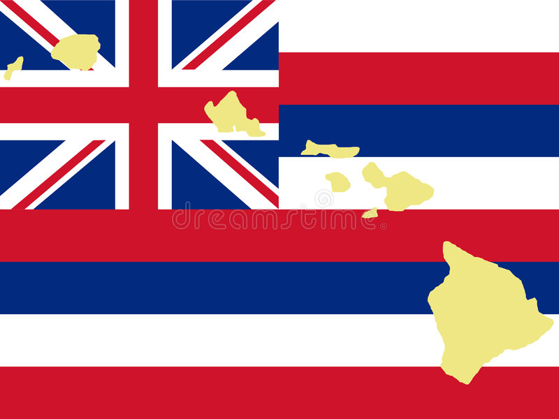 Mapa de Havaí ilustração royalty free
