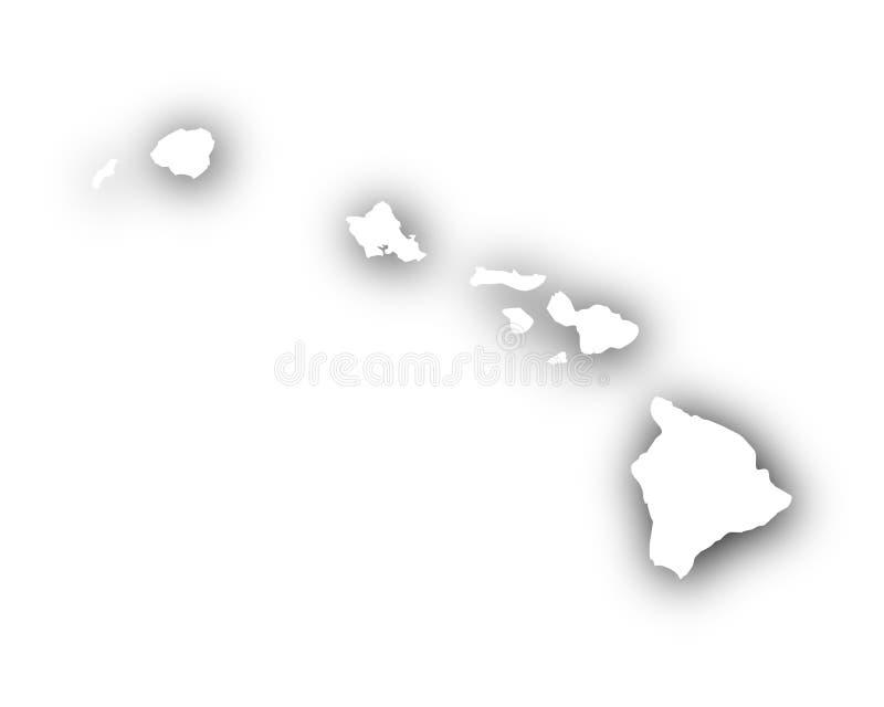 Mapa de Havaí com sombra ilustração do vetor