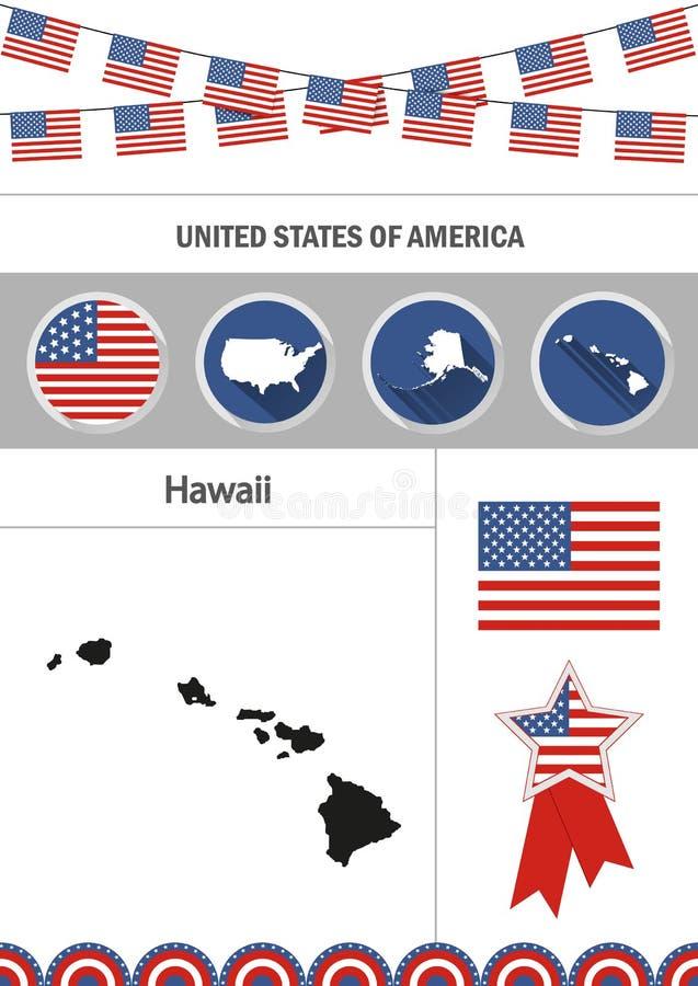 Mapa de Havaí Grupo de sagacidade lisa dos elementos do nfographics dos ícones do projeto ilustração do vetor