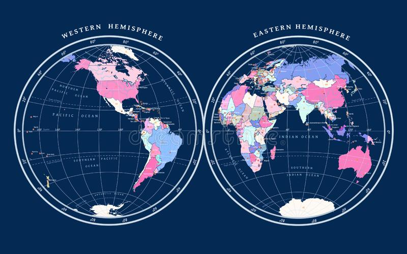 Mapa de hemisferios en fondo azul marino libre illustration