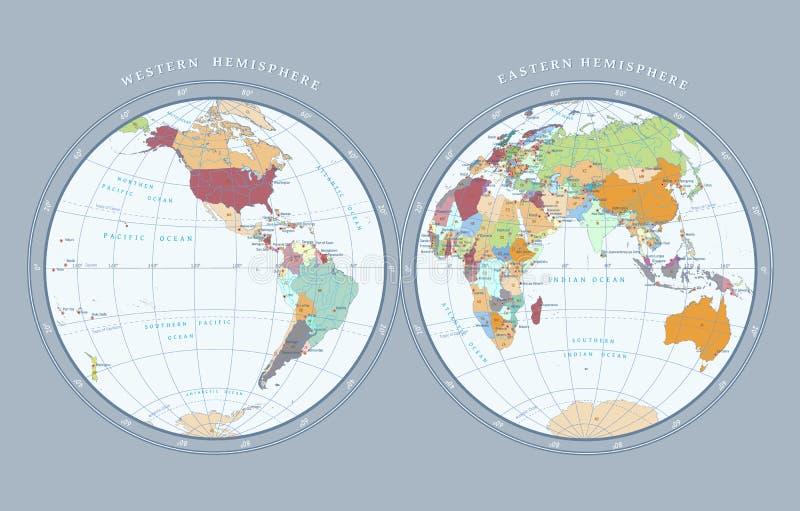 Mapa de hemisferios en fondo ligero ilustración del vector