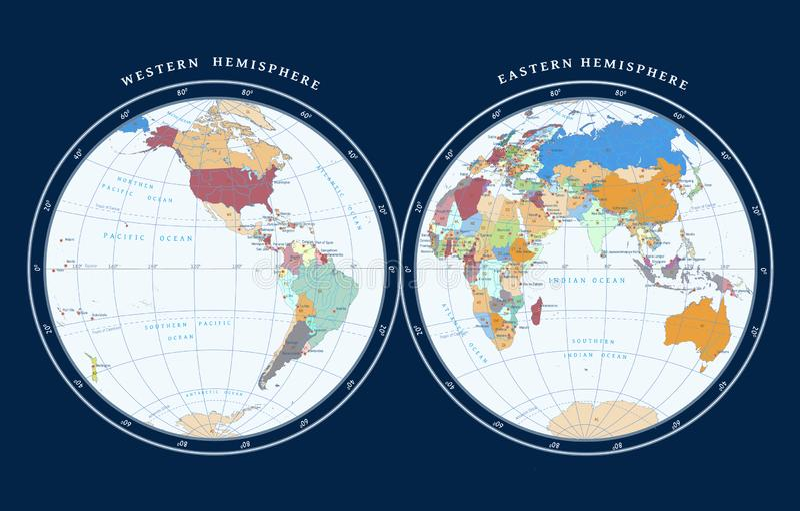 Mapa de hemisferios en fondo oscuro libre illustration