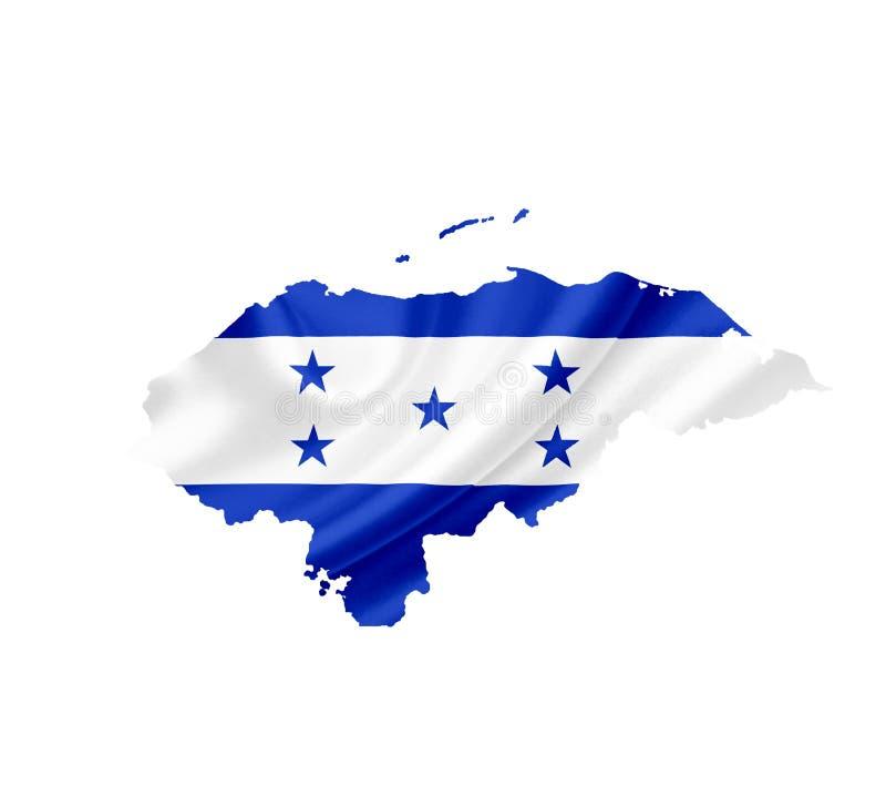 Mapa de Honduras con la bandera que agita aislada en blanco foto de archivo
