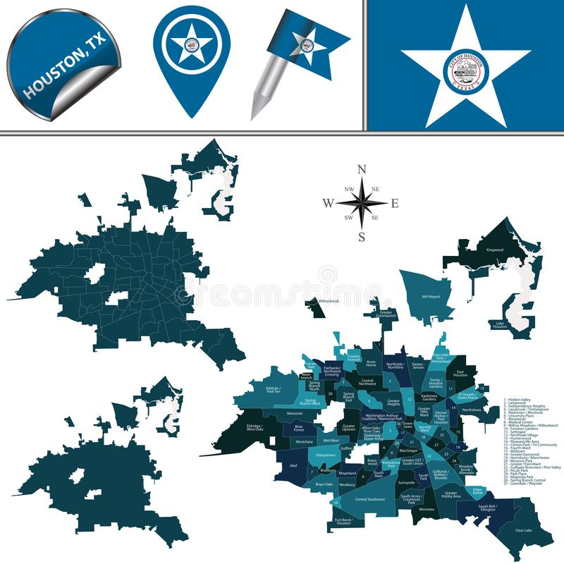 Mapa de Houston, TX con las vecindades ilustración del vector