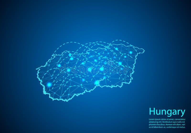 Mapa de Hungría con los nodos ligados por las líneas concepto de commun global ilustración del vector