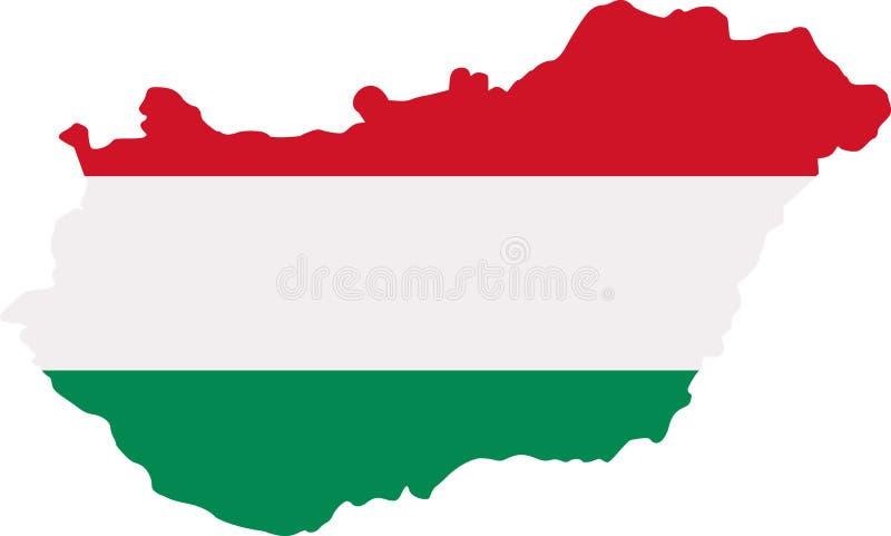 Mapa de Hungria com bandeira ilustração stock