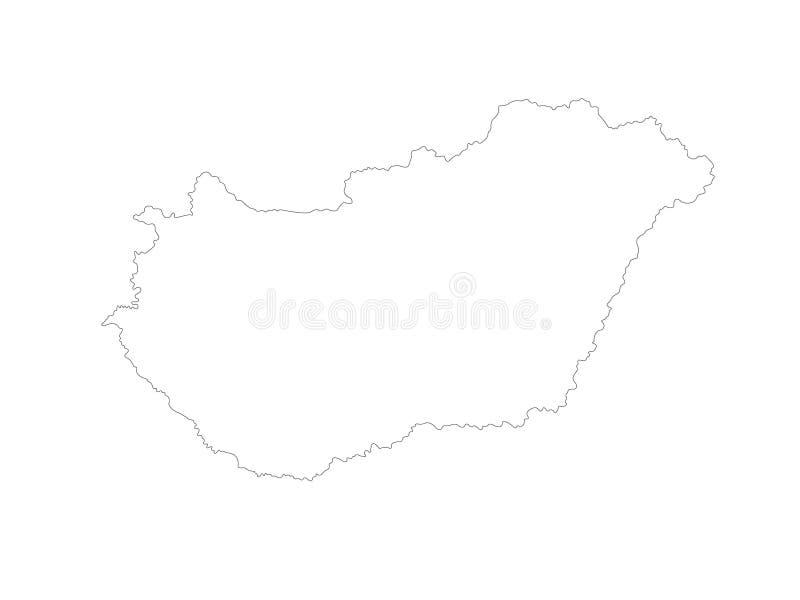 Mapa de Hungria - país na Europa Central ilustração royalty free