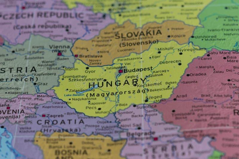 Mapa de Hungria, vista macro fotos de stock