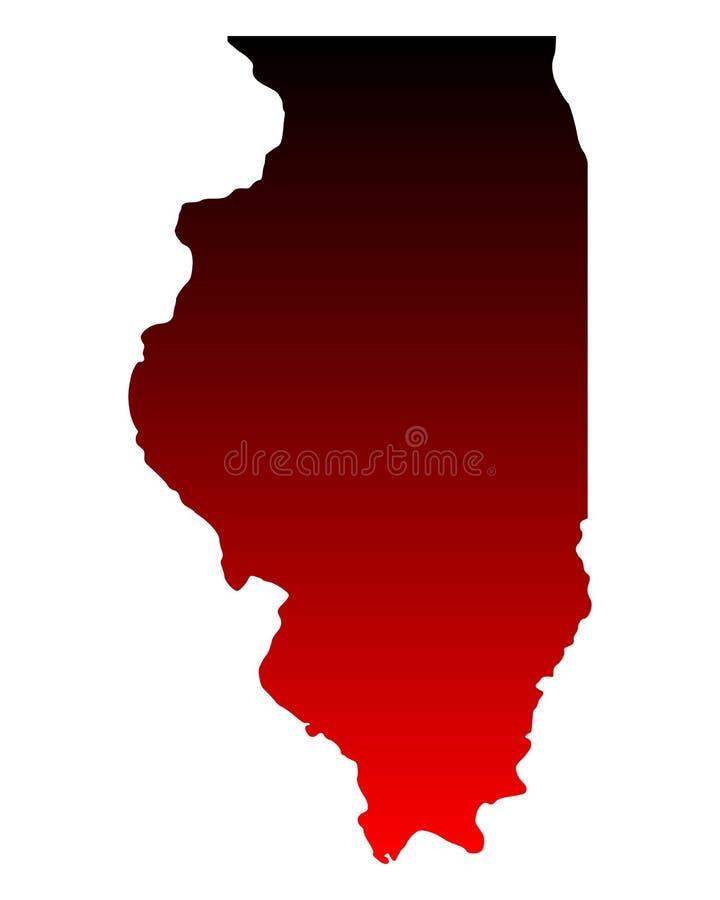Mapa de Illinois ilustração stock
