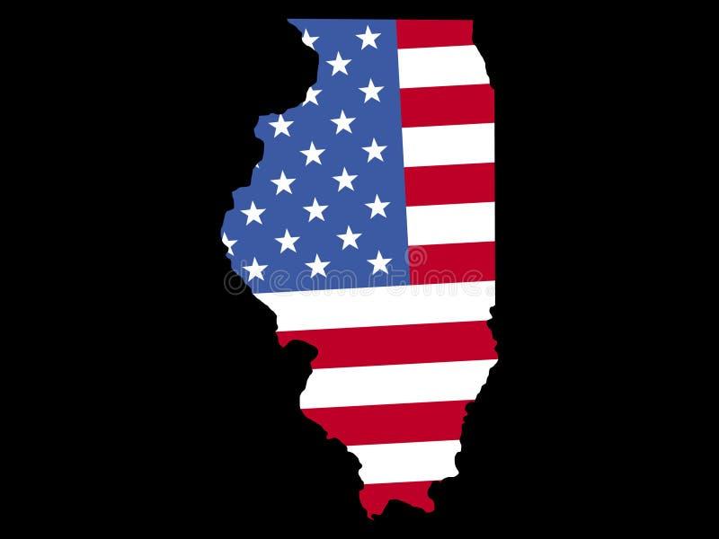 Mapa de Illinois com bandeira ilustração royalty free