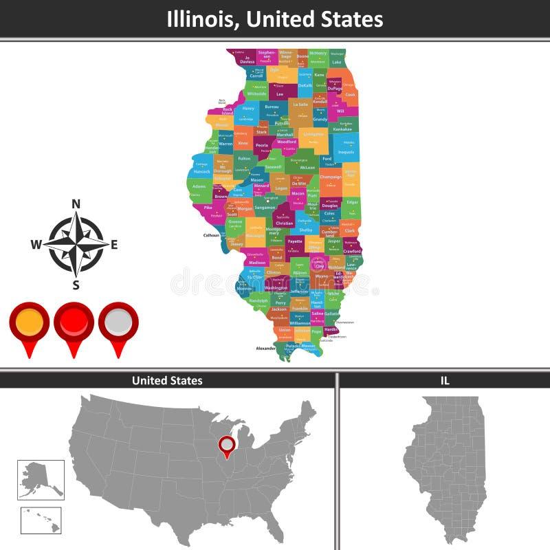 Mapa de Illinois, E.U. ilustração royalty free