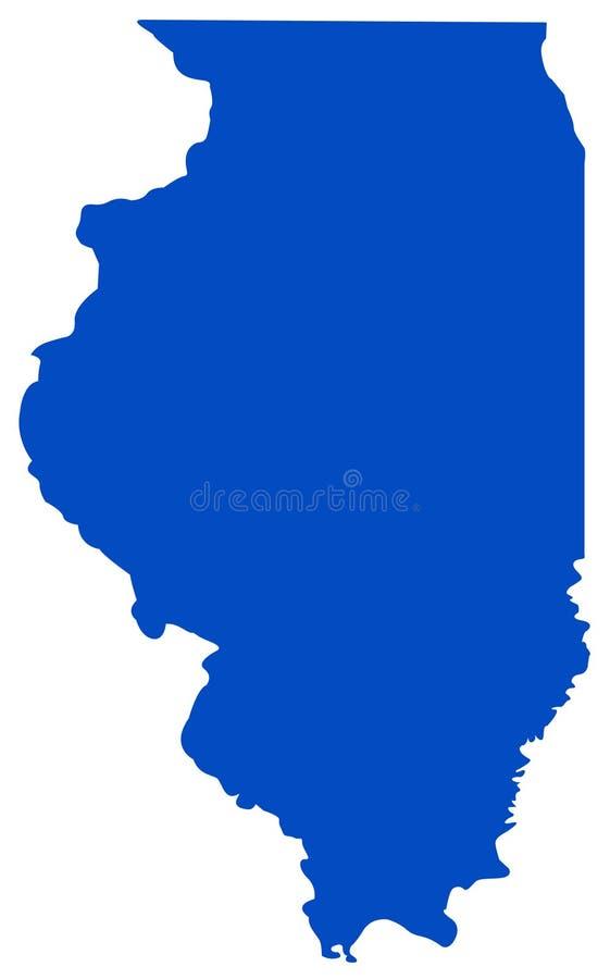 Mapa de Illinois - estado en la región del Mid West de los Estados Unidos stock de ilustración
