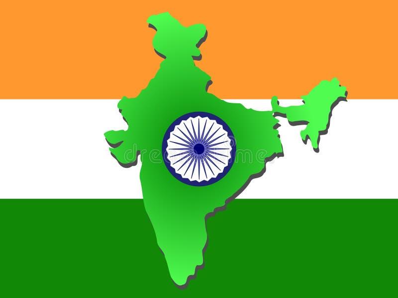 Mapa de India ilustração stock