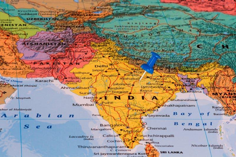 Mapa de India imagens de stock