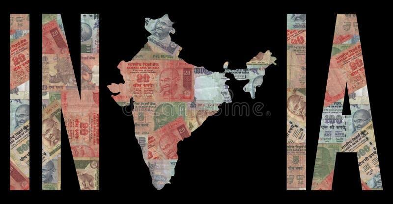 Mapa de India com dinheiro ilustração do vetor