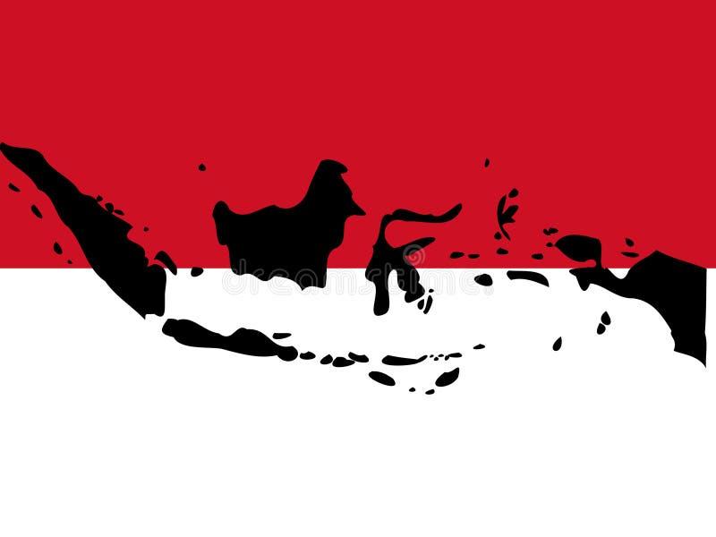 Mapa de Indonésia ilustração stock
