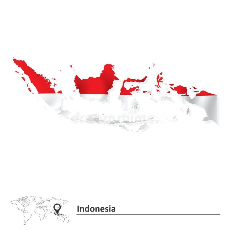 Mapa de Indonésia com bandeira ilustração stock