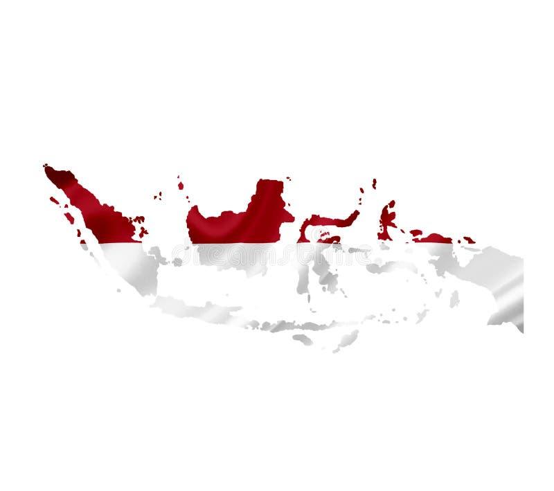 Mapa de Indonésia com a bandeira de ondulação isolada no branco ilustração do vetor