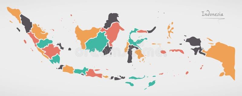 Mapa de Indonesia con los estados y las formas redondas modernas stock de ilustración