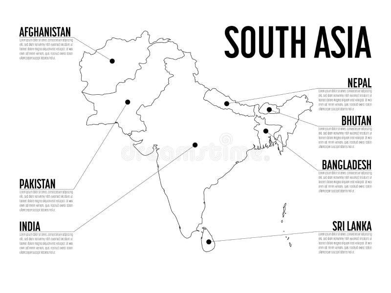 Mapa de Infographic de Asia del Sur Plantilla moderna con el texto en blanco y negro Ilustración del vector stock de ilustración