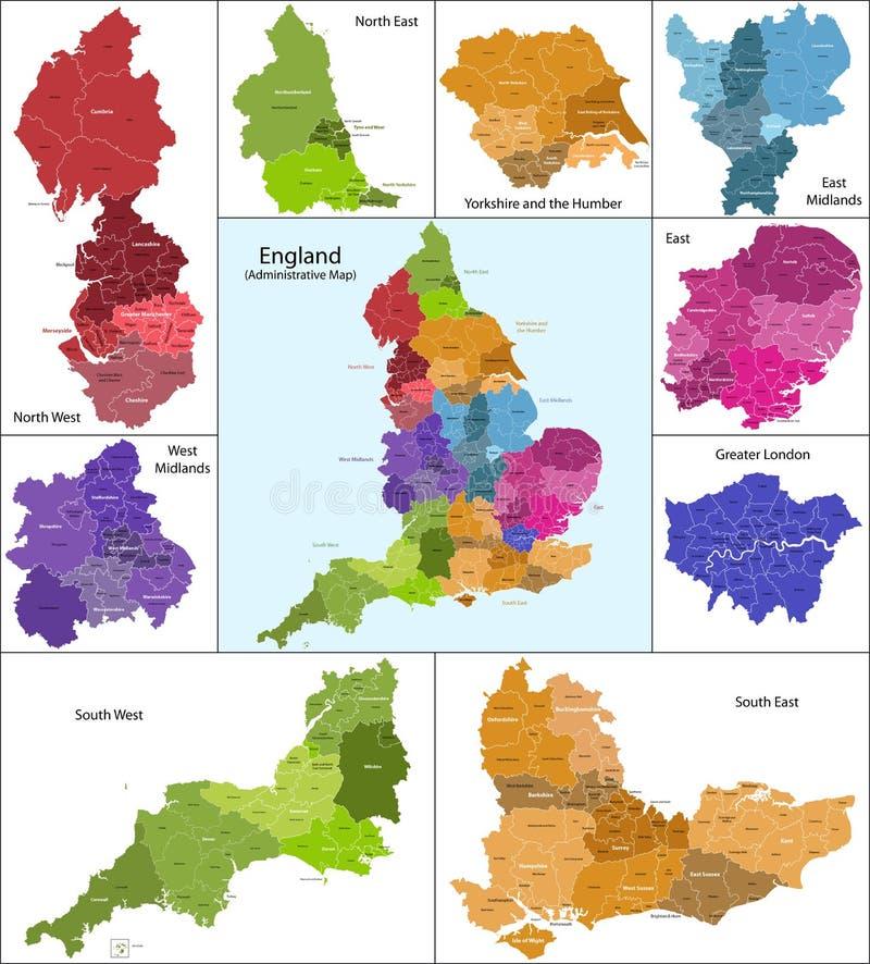 Mapa de Inglaterra ilustração do vetor