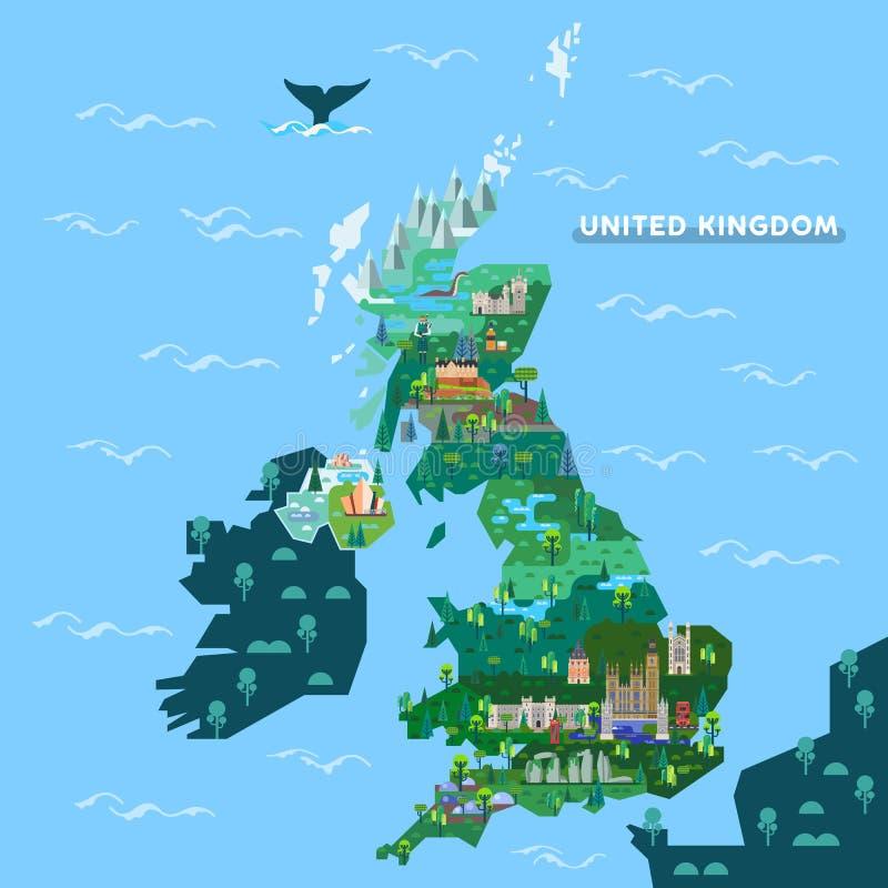 Mapa de Inglaterra, Reino Unido com marcos famosos ilustração royalty free