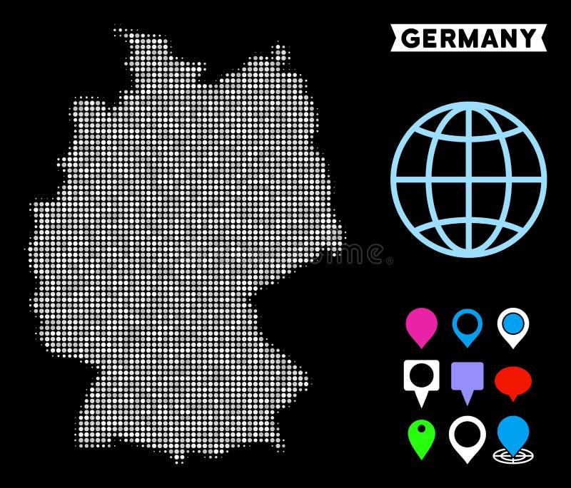 Mapa de intervalo mínimo de Alemanha do pixel ilustração stock