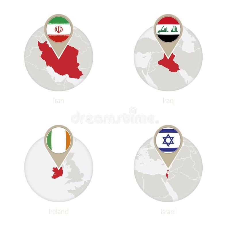 Mapa de Irán, de Iraq, de Irlanda, de Israel y bandera en círculo libre illustration