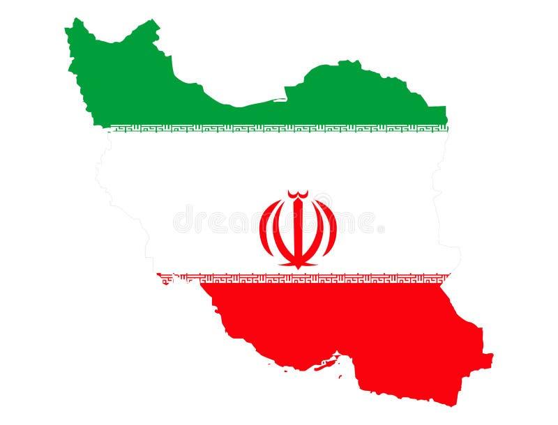 Mapa de Irán y de la bandera iraní imagenes de archivo
