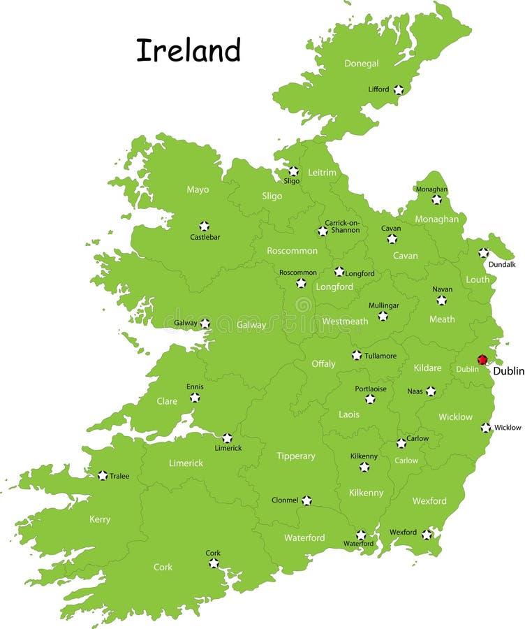 Mapa de Ireland ilustração royalty free