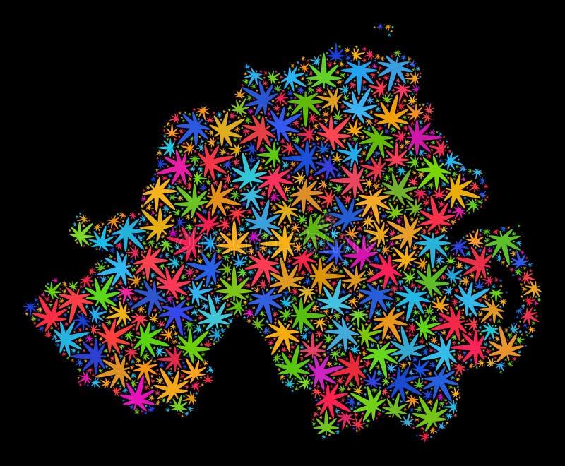 Mapa de Irlanda del Norte del mosaico de las hojas coloridas del cáñamo stock de ilustración