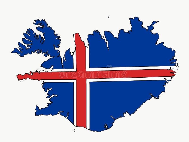 Mapa de Islândia com bandeira imagens de stock