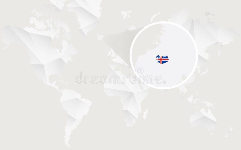 Mapa de Islandia con la bandera en contorno en el mapa del mundo poligonal blanco ilustración del vector